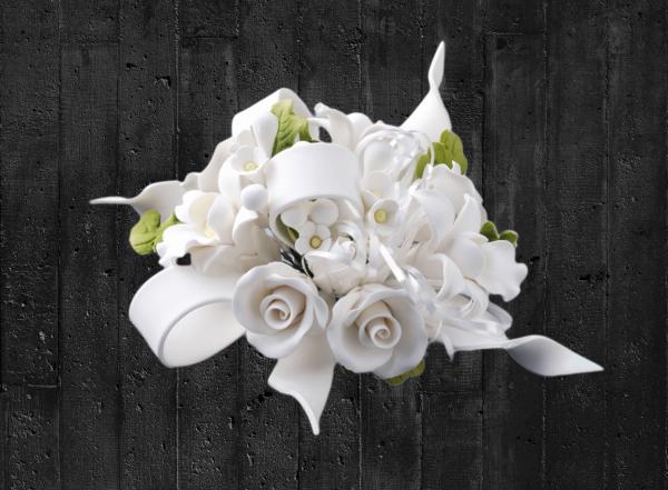 Zuckerblumenbouquet Rosen und Bänder