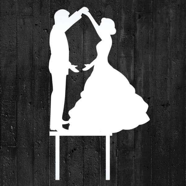 "Cake-Topper ""Brautpaar tanzend"" Acryl weiß"