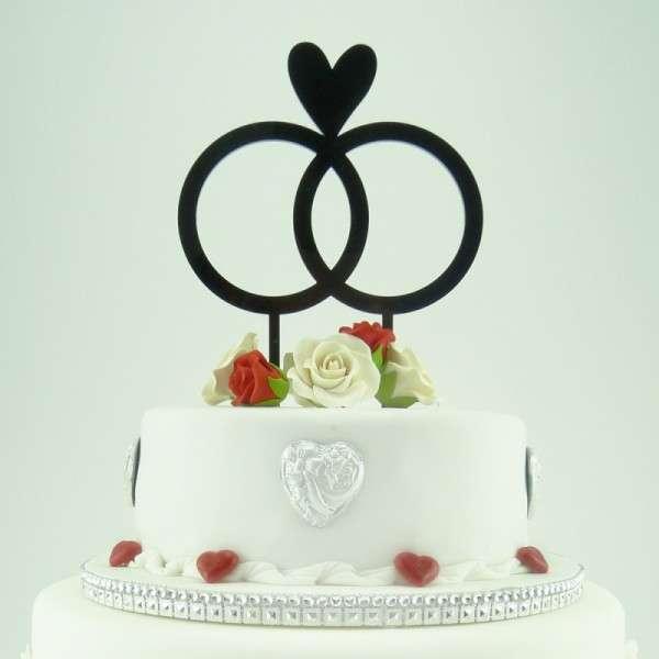 "Cake-Topper ""Doppelringe mit Herz"" Acryl Schwarz"