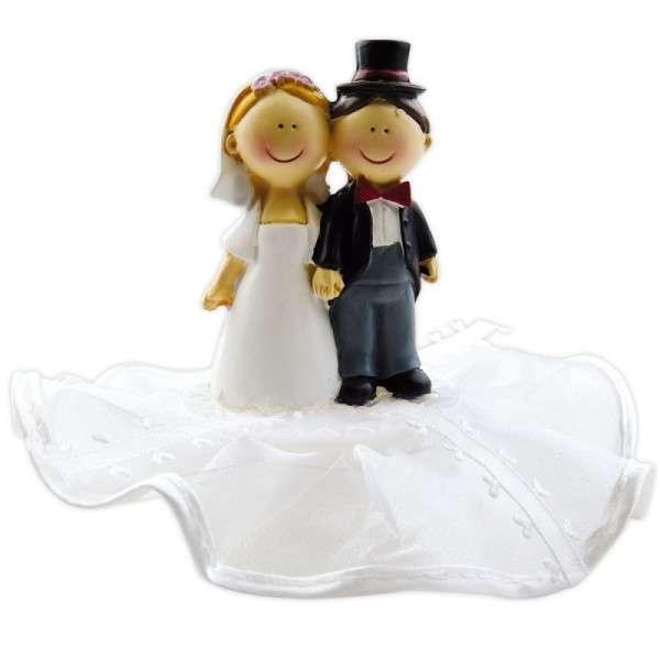Tortendekoration Hochzeit Tortenfigur Brautpaar auf Sockel