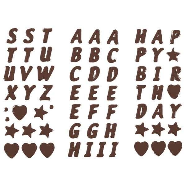 dunkle Schokoladenbuchstaben und -zahlen 1 Set mit 112 Teilen