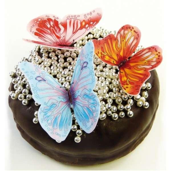 Schmetterlinge Esspapier Rosa, Gelb, Hellblau, 55 x 50mm, 12 Stück