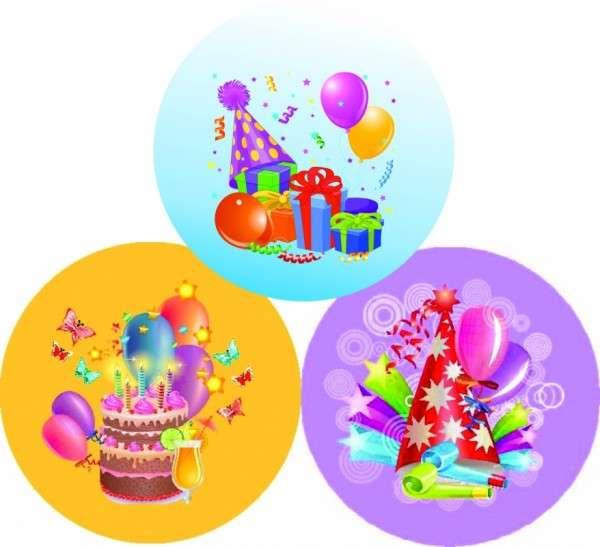 Zuckeraufleger Geburtstag / Party 4cm