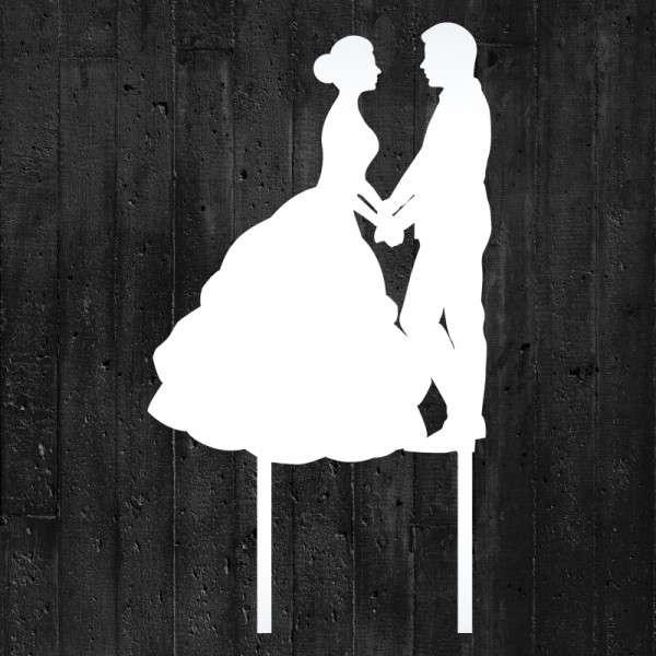 "Cake-Topper ""Brautpaar Hand in Hand"" Acryl weiß"