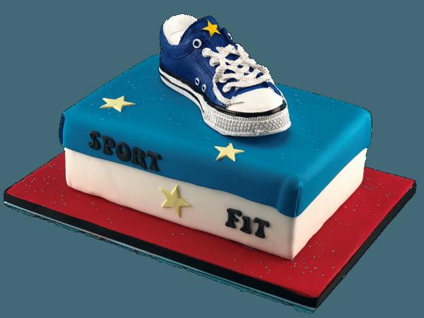 Tortendekoration Sneakers-Spardose blau