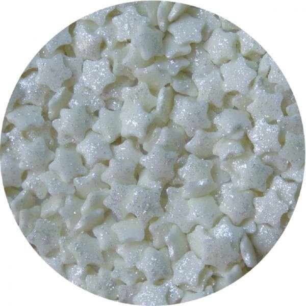 Zuckerkonfetti Sterne mit Silberglanz ca.6mm 100gr