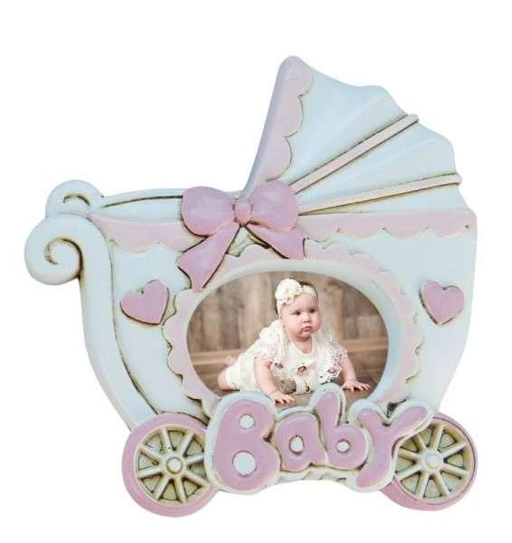 Baby-Fotorahmen Kinderwagen rosa