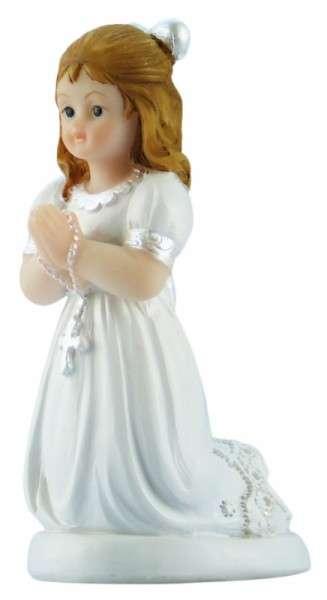 Tortenfigur Kommunionmädchen mit Schleife kniend ca.85mm