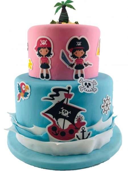 Kuchen Tattoo Piraten Mädchen Fondant Tortendeko