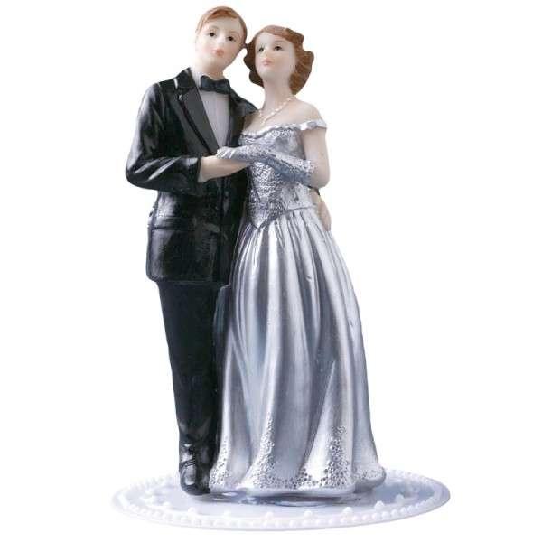 Tortendekoration Hochzeit Tortenfigur Brautpaar silber