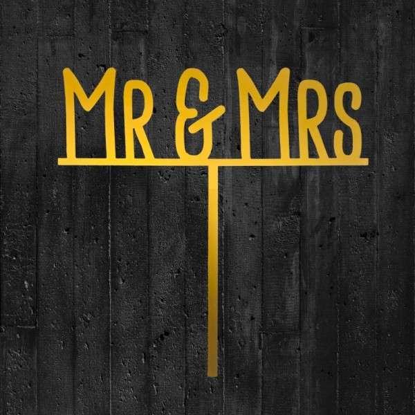 "Cake-Topper ""Mr&Mrs"" auf Linie Acryl gold"