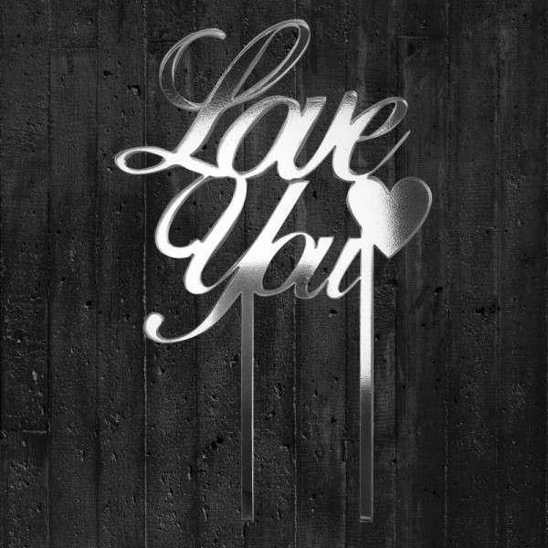 "Cake-Topper ""Love you"" Acyl Spiegel"