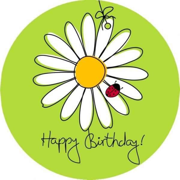 "Zuckeraufleger 10 cm ""Happy Birthday - Blume"" SB-1-120017"