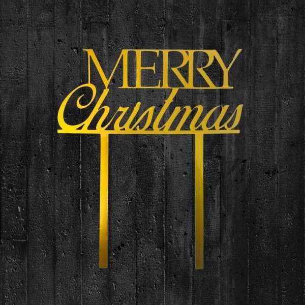 "Cake-Topper ""Merry Christmas"" Acryl gold"