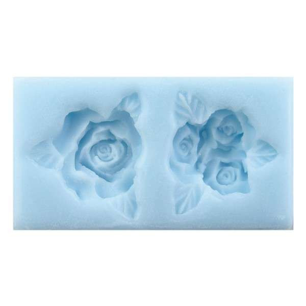 "Silikonform ""Rosenblüten mit Blatt"" Blütengröße ca.3cm, Mould 9 x 4,5 x1,2cm"