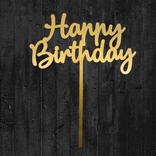 """Cake-Topper """"Happy Birthday"""" Acryl gold"""