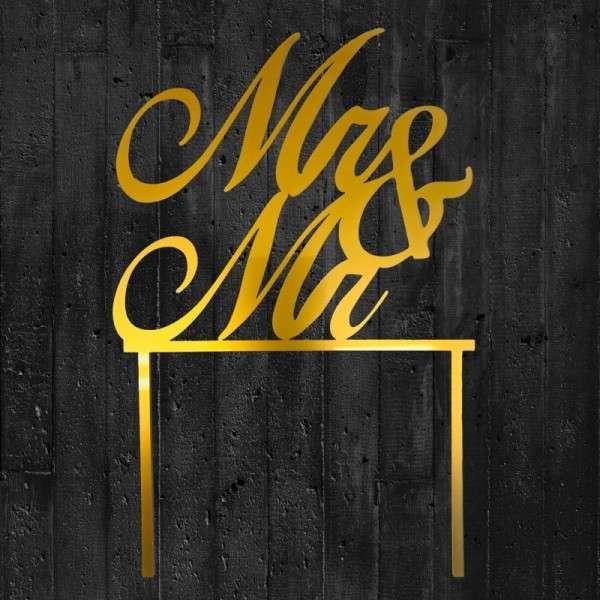 """Cake-Topper """"Mr&Mr"""" Acryl gold"""