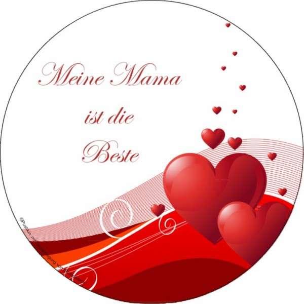 """Zuckeraufleger 100 mm """"Meine Mama ist die Beste"""" 12 Stck"""