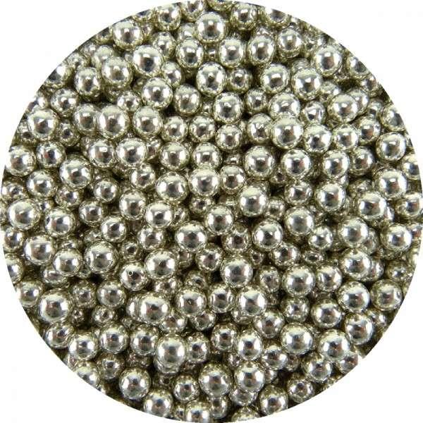 Zuckerperlen Metallic Silber 4mm 950g