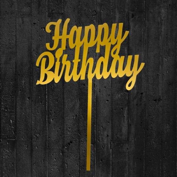 """Cake-Topper """"Happy Birthday"""" 2 Acryl gold"""