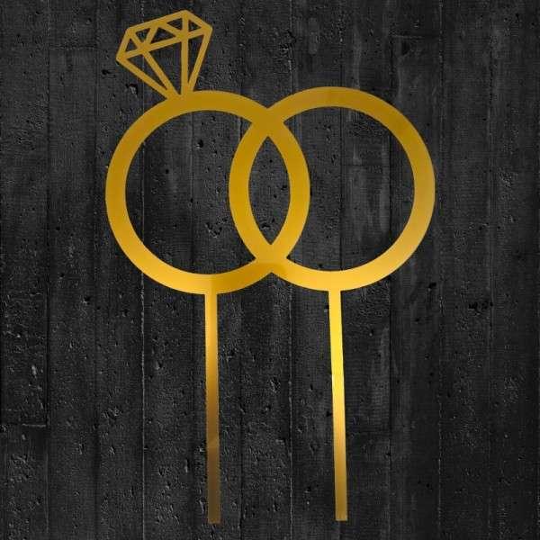 "Cake-Topper ""Doppelringe mit Diamant"" Acryl gold"
