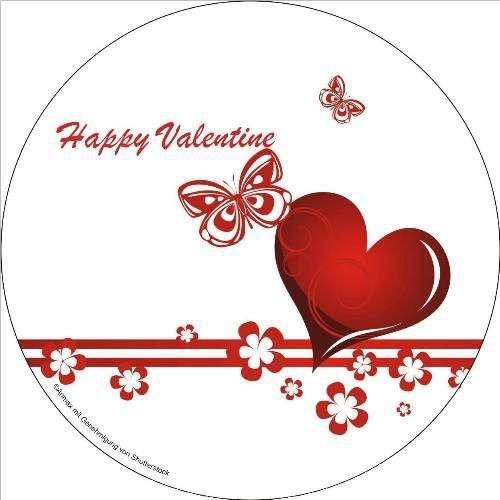 """Zuckeraufleger """"Happy Valentine"""" 100mm 12 Stck"""