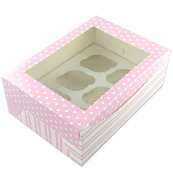 Cupcake Box für 6 Cupcakes 1 STÜCK pink ,ca.25,5 x 17,5cm Höhe 9,5cm