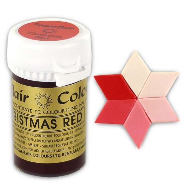 Gelfarbe Pastenfarbe Sugarflair Christmas Red-Weihnachtsrot 400g