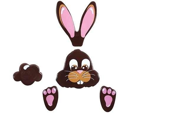 Schokoladendeko Hasenset ,Ohren 80mm,Kopf 50mm,Füße 30mm , 20 Sets