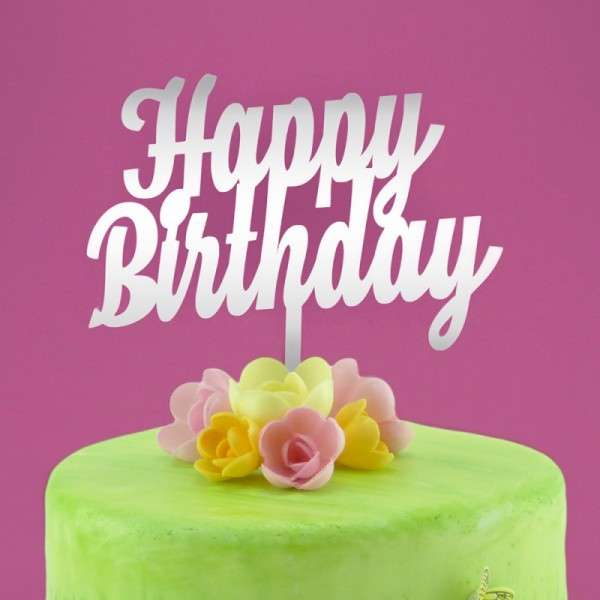 "Cake-Topper ""Happy Birthday"" 2 Acryl Spiegel"