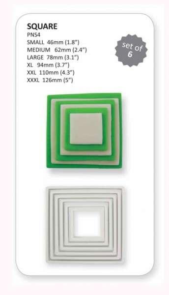 Ausstecher Viereck 6-teilig 12,5, 11,0, 9,5, 8,0, 6,0, 4,5 cm