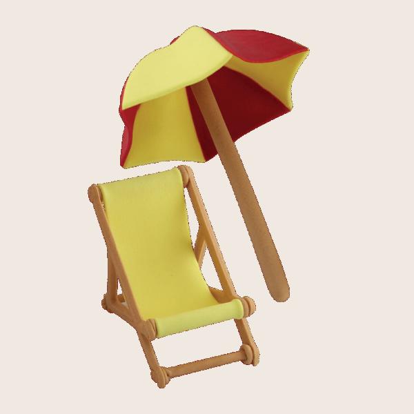 Zuckerdekoration Sonnenschirm und Liegestuhl ,Stuhl ca.60x30x50mm,Sonnenschirm ca.8x8x12cm