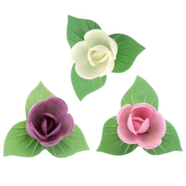 Esspapier Rose klein mit grünem Blätterkranz 40mm 81 Stck (rosa,gelb,rot)AZOFREI