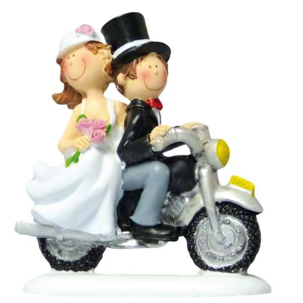 Tortendekoration Hochzeit Brautpaar auf Motorrad