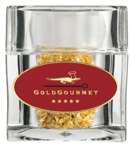 Goldwürfel Streuer mit Flocken aus echtem Blattgold 100mg