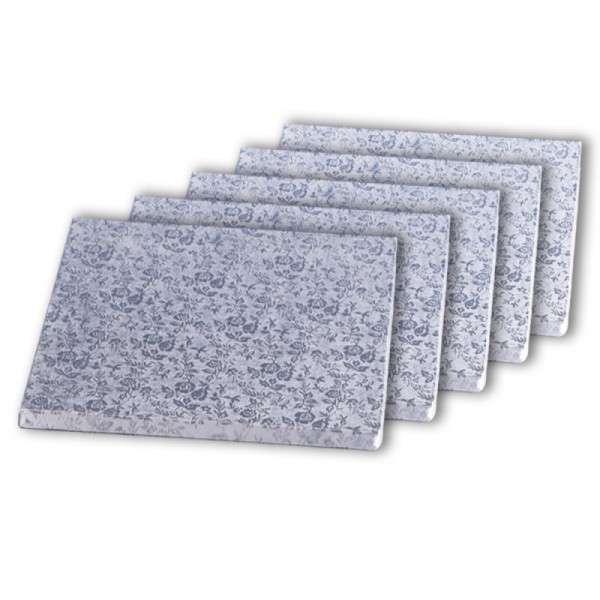 Tortenplatte quadrat 380 × 380mm Cake Board silber ca.10mm dick 5 Stck