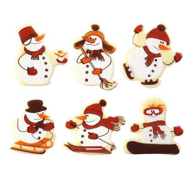 Schokoladen Schneemänner sortiert ,ca.40mm 120 Stck