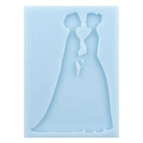 "Silikonform ""Silhouette BrautpaarW/W"" ca . 8,5 x 12 x 0,3 cm Figur ca.11cm"
