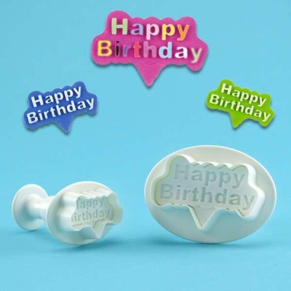 Happy Birthyday Ausstecher mit Auswurf Set mit 2 Stück 29 , 48 mm