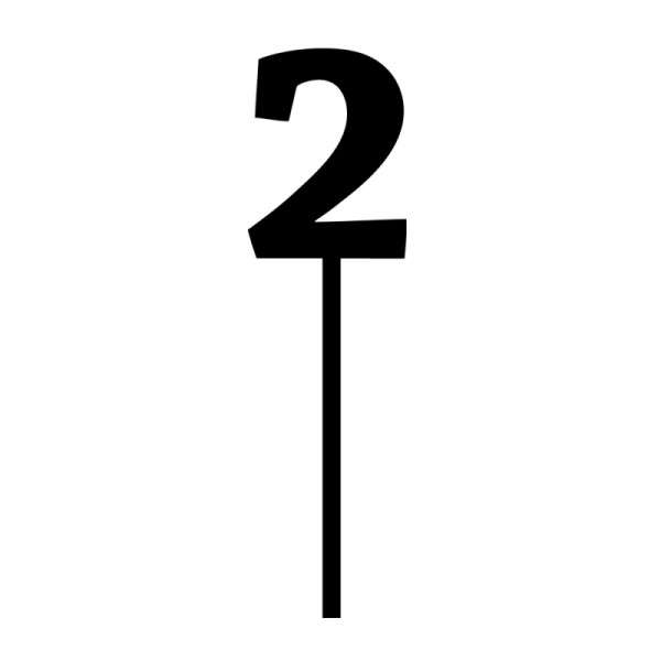 "Cake-Topper ""2"" Straight dick Schwarz Acryl schwarz Höhe 7cm Stärke 3mm"