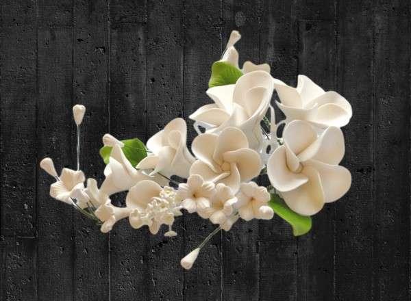Zuckerblumenboquet Frangipani weiß