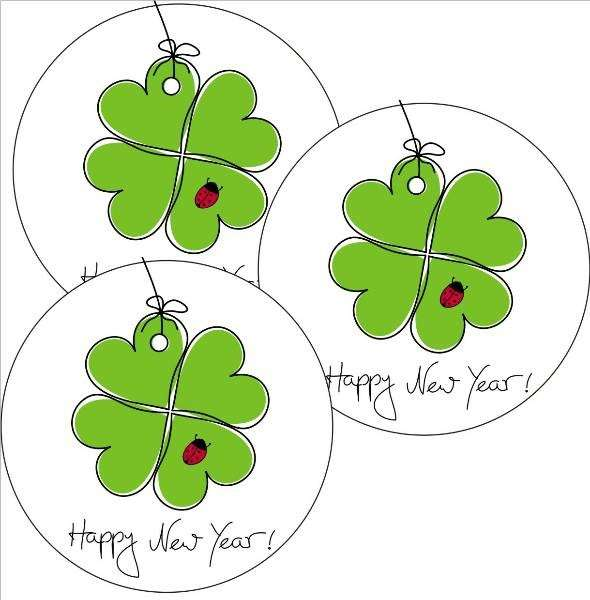 Zuckeraufleger Happy New Year Kleeblatt