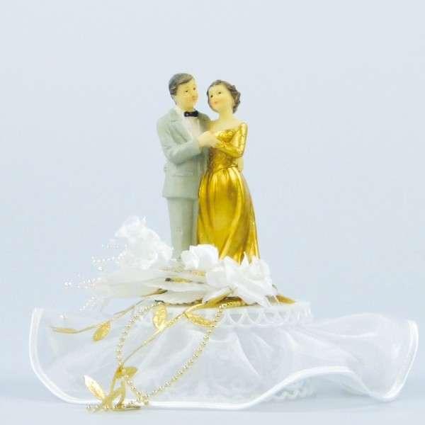 Tortendekoration Hochzeit Tortenfigur Brautpaar gold