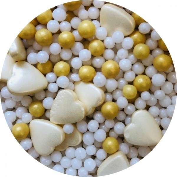 Zuckerherzen Mix perlmutt 1000g