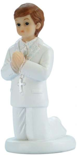 Tortenfigur Kommunionjunge weißer Anzug kniend ca.85mm