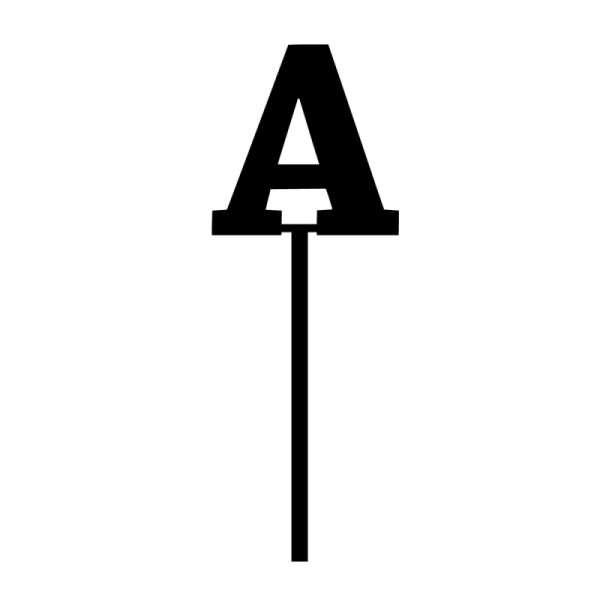"Cake-Topper ""A"" Straight dick Schwarz Acryl schwarz Höhe 7cm Stärke 3mm"