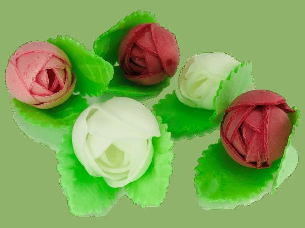 Esspapierblüten mit Blätter sortiert 40mm 60 Stck