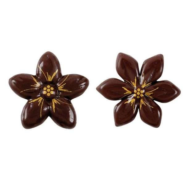 Schokoladenblumen zartbitter mit gold 2-fach sortiert 30mm 175Stck