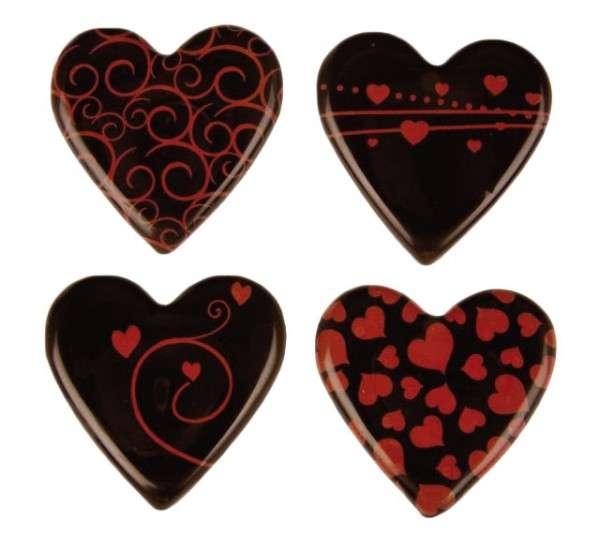 Schokoladenaufleger Herzen zartbitter 30mm 160 Sück