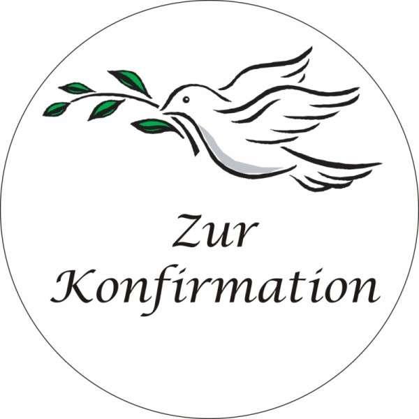 """Zuckeraufleger Taube """"Zur Konfirmation"""" 100mm 12 Stck"""